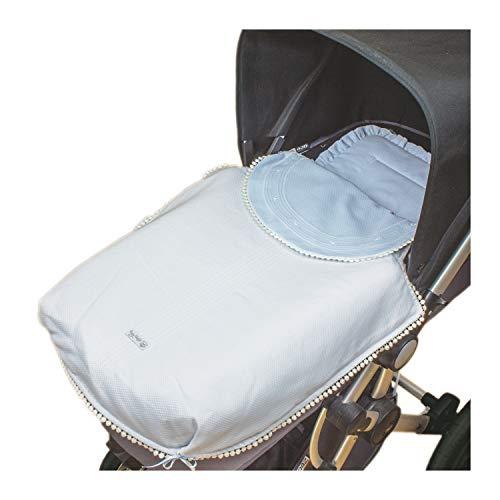 Rosy Fuentes - Saco para Capazo - 11 x 50 x 60 cm - Saco para Capazo Universal - Saco Carrito Bebé - Fabricado en Piqué - Bonito Diseño - Resistente y Duradero - Color Celeste