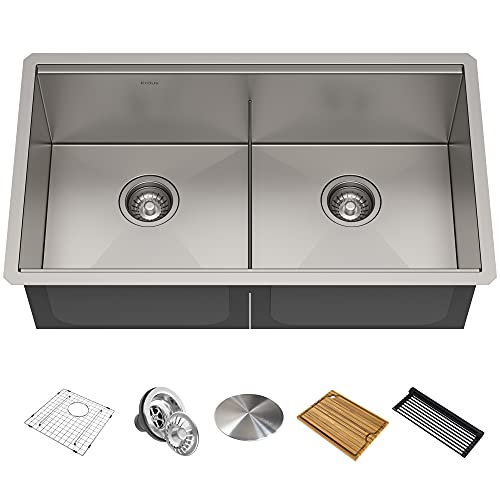 KRAUS KWU112-33 Kore Workstation 33-inch Undermount 16 Gauge Double Bowl Stainless Steel Kitchen Sink with Integrated Ledge and Accessories (Pack of 8)