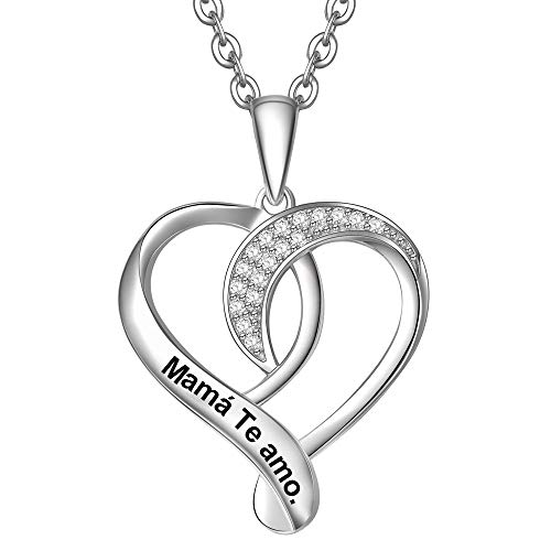 ENGSWA Collar Mujer Plata de Ley 925 Colgante Corazón Anudado Grabado Regalo para Madre Mamá