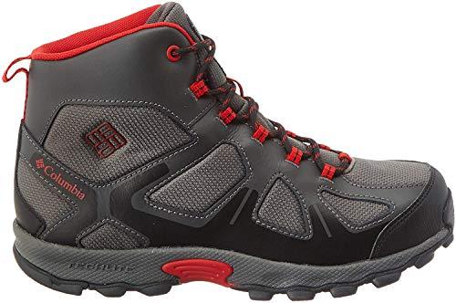 Columbia Garçon Chaussures de Randonnée, Imperméable, YOUTH PEAKFREAK XCRSN MID WP, Taille 34, Gris (City Grey, Bright Red)