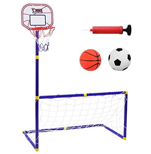 CYFIE Basketballkorb mit Fußballtor für Kinder 2 in 1 Basketballkorb mit Ständer und Fußballtor Indoor Outdoor Sport Spielzeug für Kinder mit Fußball Basketball und Pumpe