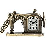 Reloj De Bolsillo De Cuarzo - Máquina De Coser Antigua Reloj De Bolsillo De Cuarzo Collar De Bronce Retro Colgante Cadena De Suéter Única Regalos De Recuerdo Para Hombres Mujeres, 1, Cadena Del