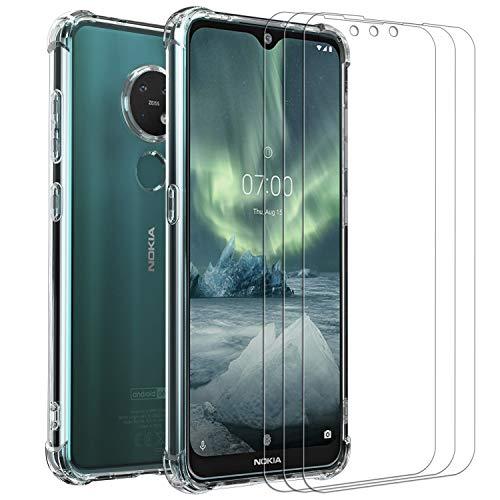 ivoler Klar Hülle für Nokia 6.2 / Nokia 7.2 mit 3 Stück Panzerglas Schutzfolie, Dünne Weiche TPU Silikon Transparent Stoßfest Schutzhülle Durchsichtige Kratzfest Handyhülle Hülle