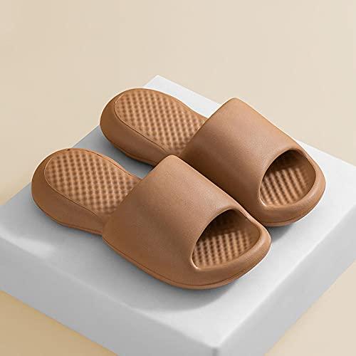 Ririhong Zapatillas de Suela Blanda súper Gruesas para Mujer, Verano, Interior, hogar, Desodorante, baño, Fresco, Hombre, Chanclas-Brown_40-41