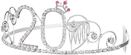 18 kroon. / 20. / 25. / 30. / 40. / 50. 60e verjaardag Happy Birthday kristal strass kroon versieringen bruiloft haarband kam hoofdband voor vrouwen 20e verjaardag