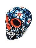 ARTESANO Hand-Painted Mexican Sugar Skull - 3' Dia de Los Muertos Altar Decorations | Day of The Dead Sugar Skulls | Cinco de Mayo Ceramic Calaveras Decor for Home or Office - [Blue Flowers]