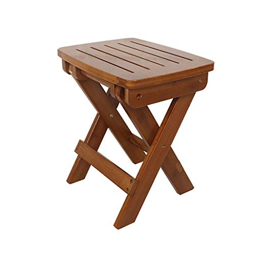 XUQIANG Small Folding Bench Portable Home Stool Wooden Outdoor Folding Chair (Size: L)
