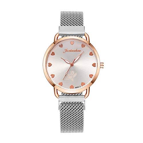 JZDH Relojes para Mujer Amor Escala Señoras Hebilla Magnética Correa Correa De Acero Reloj Pulsera para Reloj De Moda Reloj De Moda Relojes Decorativos Casuales para Niñas Damas (Color : WH)