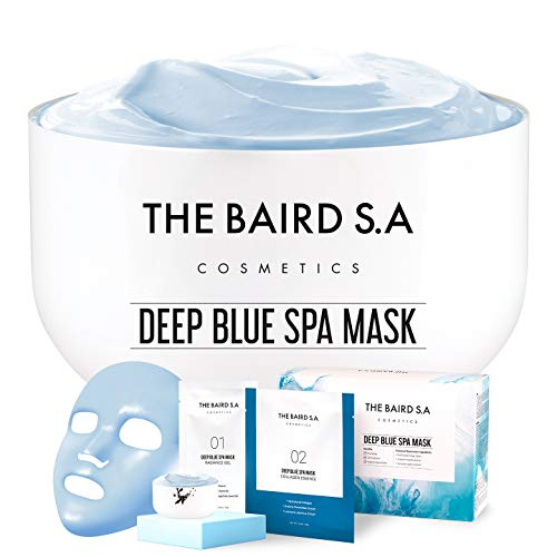 DEEP BLUE SPA Instant Mix Modeling Mask - Esthetician Grade Shake and Shot Mask and Face Mask Mixing Bowl Set - Anti-Aging Anti-Wrinkle Anti-Spot Hydrolyzed Collagen Korean Rubber Mask