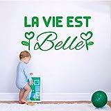 Adhesivo de pared de vinilo francés desmontable con citas La vida es hermosa Mural apliques papel tapiz artístico sala de estar decoración del hogar A6 28x58cm