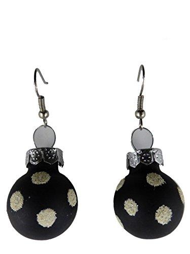 Handgemacht Weihnachtschmuck Ohrringe Weihnachten Schmuck Hänger Christbaumkugel Weihnachtskugel Baumschmuck schwarz Punkte K291