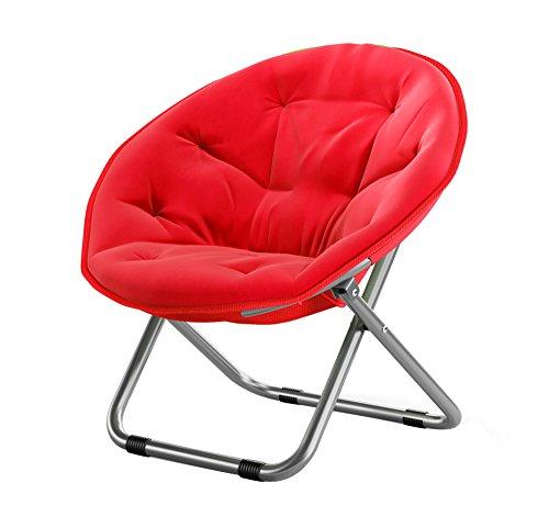 Folding Chairs Casa al Aire Libre Gran Luna Silla para Adultos/Sillón de Sol/Sillón reclinable/Sillón/Plegable/Silla Redonda/Sillón (Color : Red)