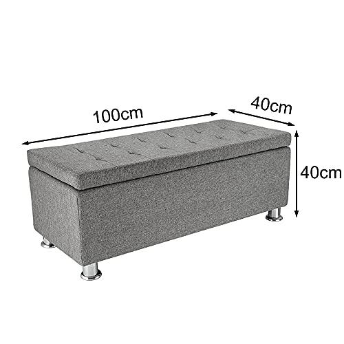 Panana Regalsystem Sitzhocker 102 x 42 x 46 cm, Sitzcube als Fußablage, aus Leinen, belastbar bis 300 kg Aufbewahrungsbox – Grau - 2