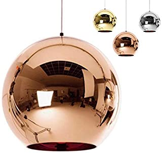 Industrial espejo moderno bola colgante Lámpara de cristal, espejo ajustable bola colgante Ligh, cortina de lámpara de techo para cocina, comedor, Bar (Cobre, 20cm)