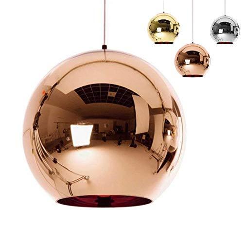 Industrial espejo moderno bola colgante Lámpara de cristal, espejo ajustable bola colgante Ligh, cortina de lámpara de techo para cocina, comedor, Bar (Cobre, 25cm)