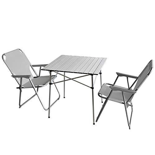 Wohaga 3tlg. Campingmöbel Set Faltbarer Campingtisch 'Ameland' Silber, 70x70cm + 2X Campingstuhl, Hellgrau/Strandmöbel Campinggarnitur Gartenmöbel