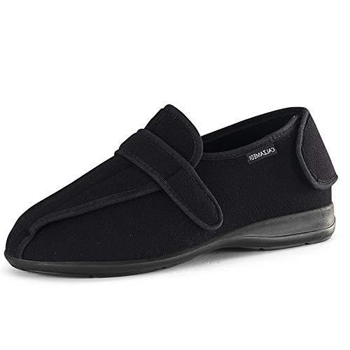 Zapatillas casa y Calle CALZAMEDI, Tejido Color Negro,Apertura Total Cierre velcros,Horma 16.Mod.3050 (Negro, Numeric_45) ✅