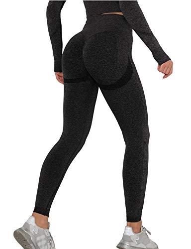 SHAPERIN Damen Kompressions Sport Leggings Hohe Taille Bauchweg Sporthose Blickdicht Anti-Cellulite Kompressionshose PO Push up Sports Tights Laufhose Fitnesshose für Yoga Workout Gym(#1 Schwarz,M)
