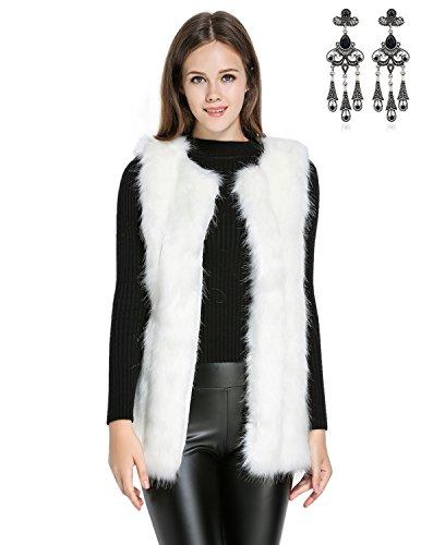 MODETREND Donna Cappotto Invernale Gilet di Pelliccia Elegante Faux Fur Senza Maniche Giacchetto Giubbotto Giacca Parka Trench Autunno