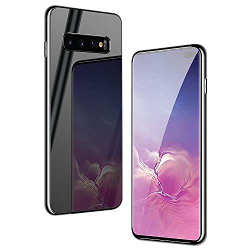 SevenPanda Echt Spiegel Tasche Klar Back Spiegel Stoßdämpfung TPU Bumper Case Anti-Scratch Bright Reflection Schutzhülle für Samsung Galaxy S10 Lite 2019 - Schwarz