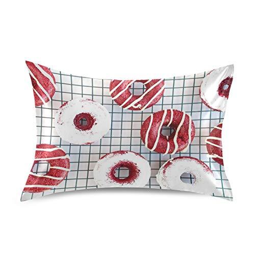 iRoad - Funda de almohada de microfibra 100% con patrón geométrico de dona, funda de almohada de satén suave para cabello y piel, tamaño king de 50,8 x 101,6 cm