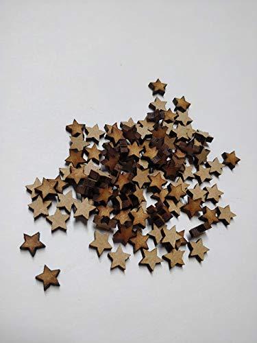 LaserKris Holzsterne zum Basteln, 100 Stück, 10 mm (1 cm), 3 mm dick, MDF, Dekoration, blanko