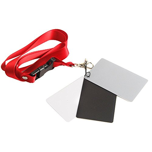 """pangshi Large Size 3 Card Set - 4"""" x 5"""" White Balance Card 18% Gray Card with Premium Lanyard for Digital and Film Photography"""