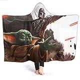 QIAOQIAOLO Star Wars Babydecke mit Kapuze, Mandalorianisches Baby Yo-da für Jungenzimmer, Microplush, funktional als Geschenk, Kindergröße 127 x 101 cm