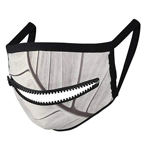 Hustor Crema y gris macro hoja diseño cara de tela Ma_sk con cremallera reutilizable lavable pasamontañas boca Co_ver para hombres y mujeres