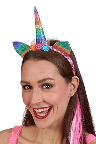 Andrea Moden 3888416 Eenhoorn haarband met vlecht, hoorn en oren, regenboogkleuren, dier, mythische wezens, haarsieraden, tiara, motto party, carnaval