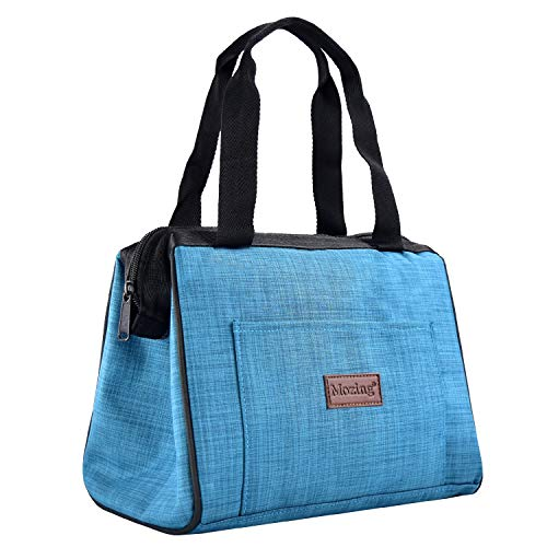 Mozing Lunch bags , Insulated Lunch Tote Box Wide-Open Leak Proof Thermal Durable Carry Handle Reusable Lunch Container for Women Men Kids School College Work Picnic Hiking Beach (Light Blue)