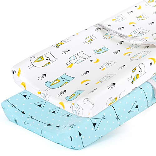 Stretchy-Changing-Pad-Covers-BROLEX Carddle Sheet Set for Baby Boys Girls,2 Pack Jersey Knit,Arrow & Owl