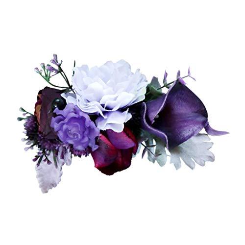 Exquisito Peine de Flores Artificiales en Estilo de Bohemio Peinetas de Pelo de Boda - Morado oscuro