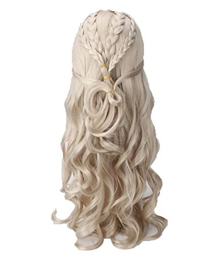 COSJP Thrones Daenerys Targaryen Cosplay Wig Khaleesi Costume Long CurlyBraids Hair Wigs