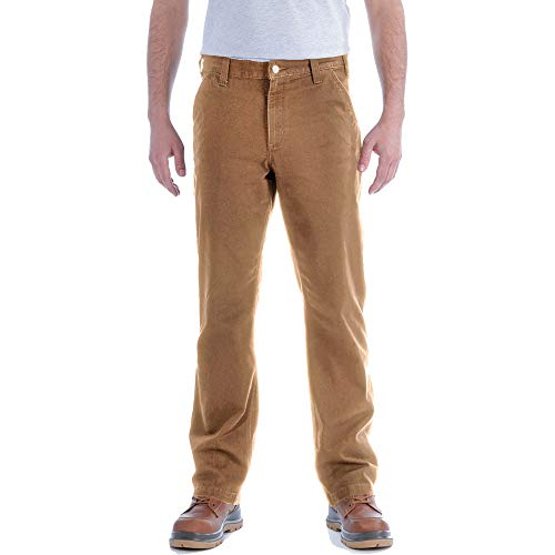 Carhartt Mens Straight Fit Stretch Duck Dungaree Work Utility Pants, Brown, W34/L32