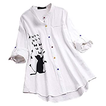Women Vintage Button Cat Print Casual Long Sleeve Blouse Shirt Top