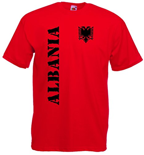 World-of-Shirt Herren T-Shirt Albanien EM 2016 Trikot Fanshirt|rot-S