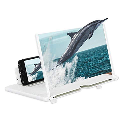 Fresnel Mirror Screen Magnifier, 3D HD Telefoon Scherm Vergrootglas Opvouwbare Stand Houder 12 inch Harde Plsatic voor Alle Smartphone iPhone 11 XS XR 8 7 Plus Samsung S10 S9 S8 Note 10 9 Moto LG HUAWEI, Kleur: wit