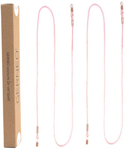 GERNEO® - DAS ORIGINAL - Premium Brillenband & Brillenkordel Unisex für Lesebrille & Sonnenbrille - Kupfer Halter - Rosa - extra lang - 2er Pack