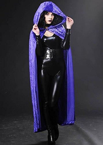 Halloween gothique velours violet Long Cape à capuchon