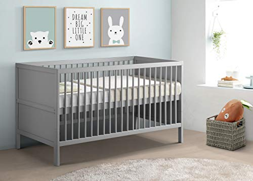 Babylo Westland cot Bed, converts to Toddler First Bed, Grey