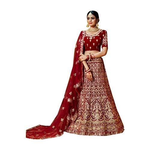 Red Bridal Lehenga Choli Ghagra Girl Skirt Top Rock Designer Wedding Kleid mit Dupatta Frauen traditionelle Hochzeit indische Frau festlich Hijab...