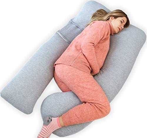 Kolbray®️ Almohada de Embarazo (Disponible en C y U) – Almohada de Maternidad de Cuerpo Pleno para Dormir con Funda Extraíble de Jersey | Cojín Ortopédico de Apoyo para Mujeres Embarazada o Lactantes