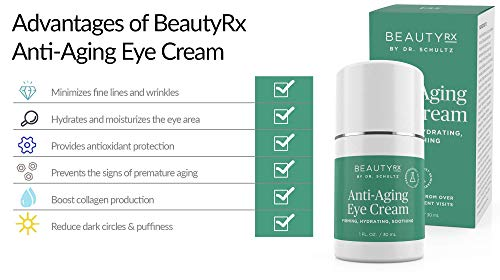 41cf95m1NTL - BeautyRx by Dr. Schultz Eye Cream for Dark Circles, Bags, Wrinkles & Puffiness. Best Firming Under & Around Eyes Anti-Aging & Moisturizing Treatment with Vitamin C, Hyaluronic Acid & Green Tea (1 oz)