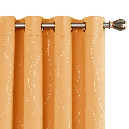 Deconovo Orange Blackout Grommet Curtains Pair Room Darkenign Curtains with Wave Line Dots Printed Pattern for Living Room 52 x 84 Inch Orange Flame 2 Panels