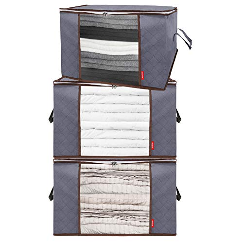 Belleford Storage Bags for Clothes XXL - 23x16x13 Clothing Organizer Set - Also for Bedding & Blanket Storage - Large Capacity, Reinforced Handles, Sturdy Zipper, Water-Resistant, 90L (Grey, 3-Pack)