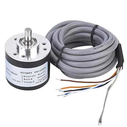 Plyisty Encoder rotativo incrementale 38mm, con 3 Viti, Encoder per Uso Generico DC5~26V, Encoder incrementale con mandrino in Acciaio Inossidabile.(360P/R)
