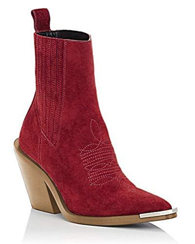 Minetom Mujer Botines Otoño Invierno Zapatos Antideslizante Ankle Boots Elegante Tacón de Bloque Botas Talla Grande Rojo 37 EU