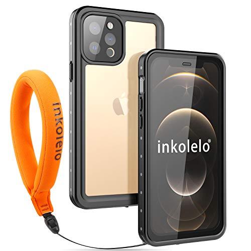inkolelo wasserdichte Hülle für iPhone 12 pro Schutzhülle Ganzkörper Unterwasser Wasserdicht IP68 Rugged Schale Wasserschutzhülle mit Schwimmender Schlüsselband für iPhone 12 pro (Mattschwarz/Orange)