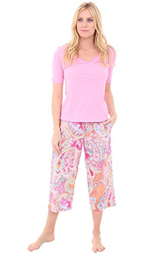 Alexander Del Rossa Womens 100% Cotton Pajamas, V-Neck Knit Top Woven Bottom Pj Set, 2X Vibrant Pink Paisley with Prism Pink Top (A0573P812X)